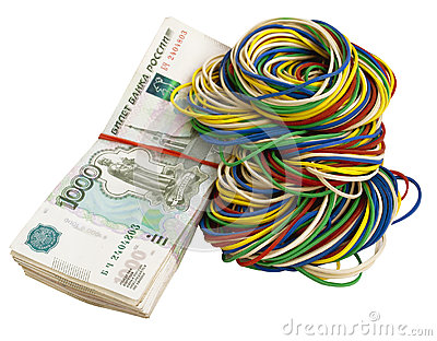 Russian rubles with elastic bands