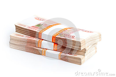 Russian rubles isolated on white
