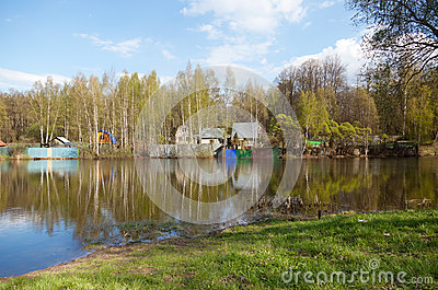Russian rural landscape, home on the water