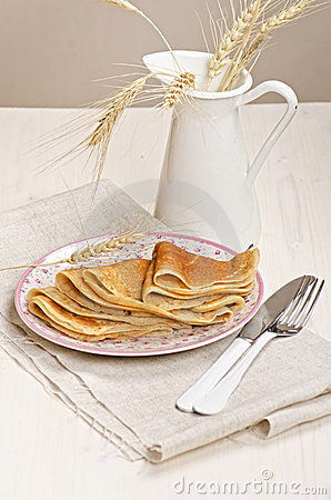 Russian rye and wheat pancakes