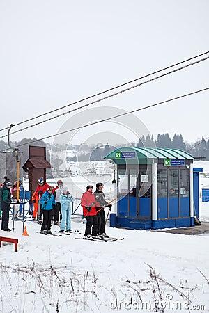 Russian ski resorts Sorochany in winter season Editorial Image