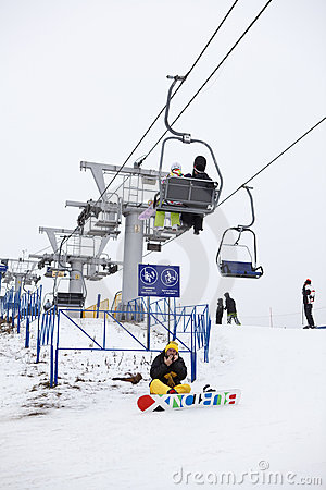 Russian ski resorts Sorochany in winter season Editorial Stock Photo