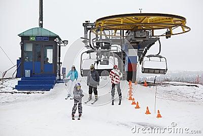 Russian ski resorts Sorochany in winter season Editorial Photo