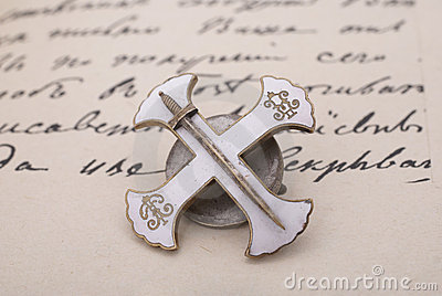 Russian soldier cross on old manuscript background