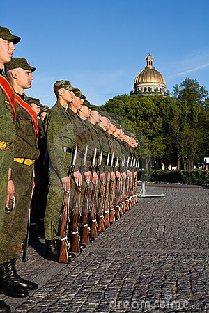 Russian soldiers in the line Editorial Photography