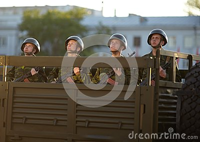 Russian soldiers at the parade repetition Editorial Stock Photo