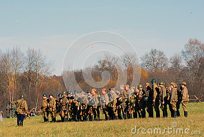Russian soldiers-reenactors Editorial Image