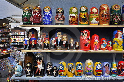 Russian souvenir dolls on street sale Editorial Image