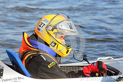 Russian sportsman at Powerboat Race Show 2012 Editorial Photo