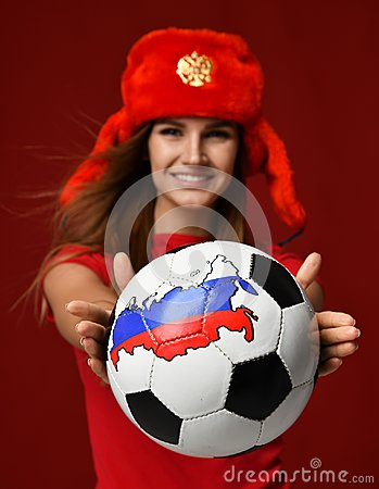 Free Russian Style Fan Sport Woman Player In Red Uniform Give Soccer Ball Celebrating Happy Smiling Royalty Free Stock Images - 108811359