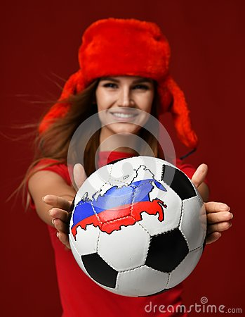 Free Russian Style Fan Sport Woman Player In Red Uniform Give Soccer Ball Celebrating Happy Smiling Stock Photos - 109135553