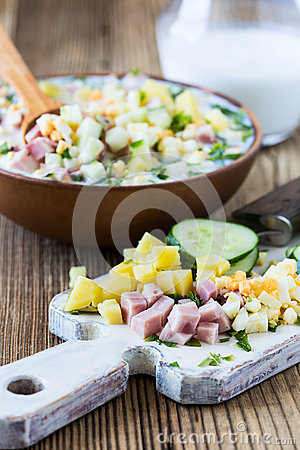 Free Russian Summer Cold Soup Okroshka, Ingredients Royalty Free Stock Image - 60556886