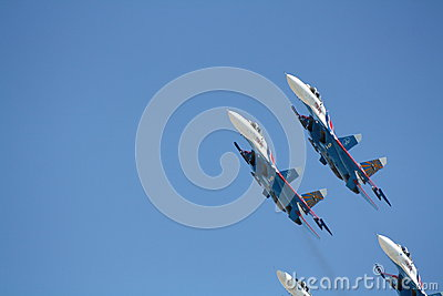 Russian supersonic fighters Su-27 Editorial Stock Image