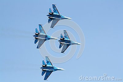Russian supersonic fighters Su-27 Editorial Photography