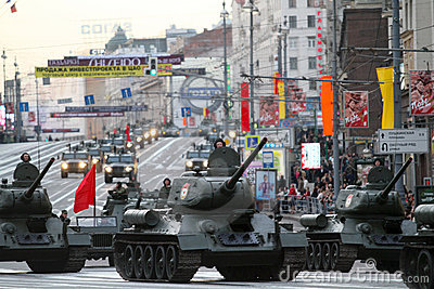 Russian tanks roll down Tverskaya street Editorial Photo