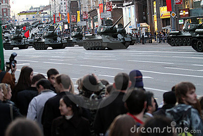 Russian tanks roll down Tverskaya street Editorial Stock Image