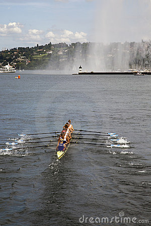 Russian team races on Lac Leman Editorial Image