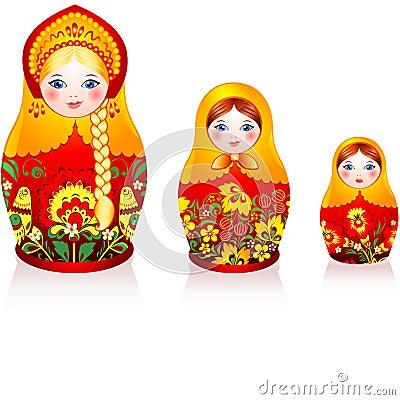 Free Russian Tradition Matryoshka Dolls Royalty Free Stock Photography - 28000557
