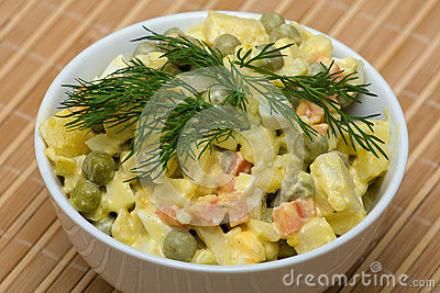 Russian traditional salad under the name Olivier