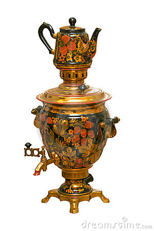 Russian traditional samovar and teapot