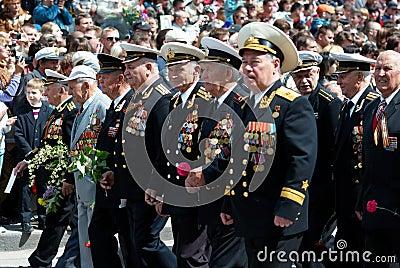 Russian veteran s parade. 9 of May. Editorial Image
