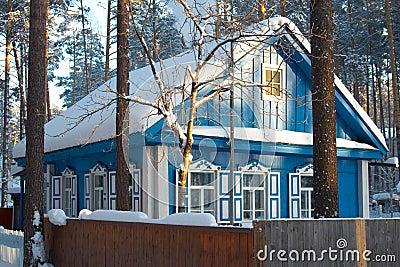 Russian village, Siberia. Cold Winter.