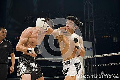 Russian vs korean thai boxer in bangkok Editorial Stock Image