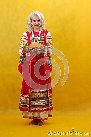Free Russian Woman In A Folk Dress Royalty Free Stock Image - 4739156