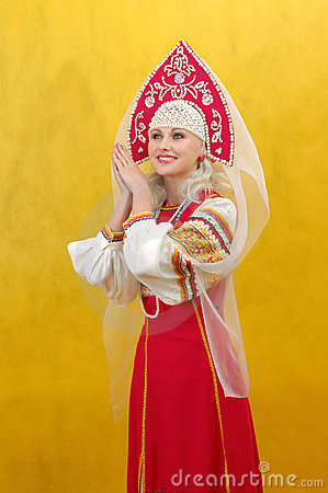 Free Russian Woman In A Folk Dress Royalty Free Stock Images - 4739299