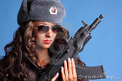 Russian woman with rifle