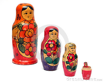 Russian wooden dolls row