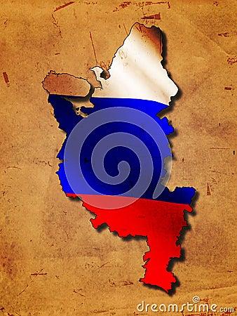 Russische Karte mit Markierungsfahne