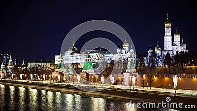 Russland, Moskauer Stadt, Kreml in der Nacht stock video footage