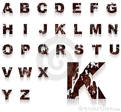 Rust grungy alphabet