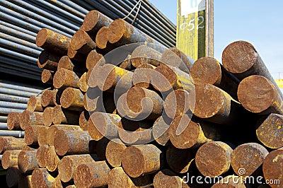 Rust steel rods in raw
