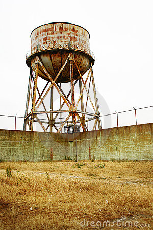 Rusted Alcatraz water tower