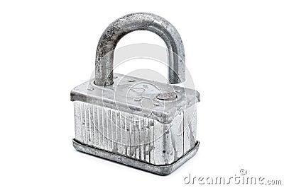 Rusted broken padlock