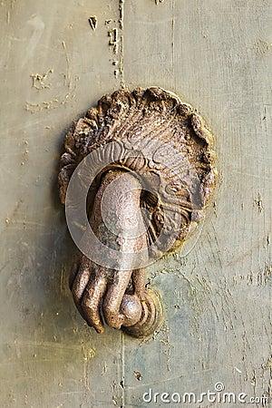 Free Rusted Hand Door Knocker Stock Photography - 22935752