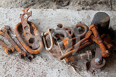 Rusted iron tools