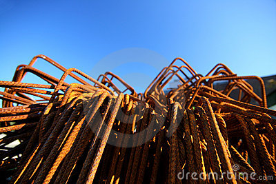 Rusted metal parts in front of blue sky