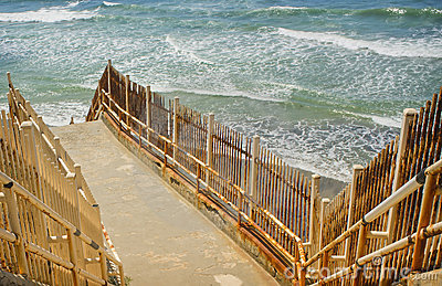Rusted Metal Stairway to Ocean, California