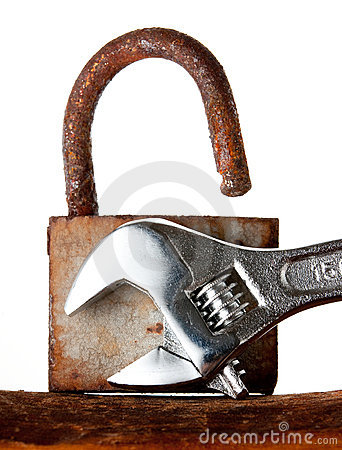Rusted Old Hanging Lock Stock Image - Image: 11106371