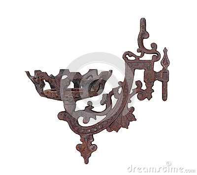 Rusted old wall candle holder isolated