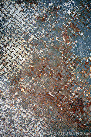 Rusted painted metal plate