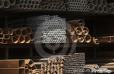 Rusted steel pipes and rectangle tubes piles
