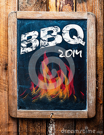 Free Rustic Advertisement For A BBQ On A Slate Stock Photography - 36767742