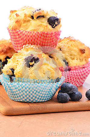 Rustic blueberry muffins