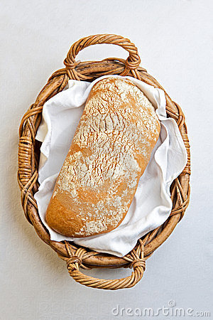 Rustic bread in bakery basket
