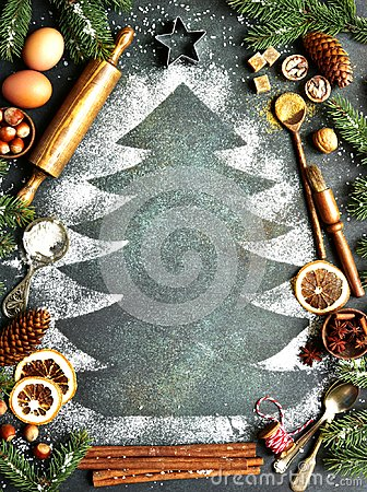 Free Rustic Christmas Baking Background With Ingredients For Making C Stock Images - 105352264