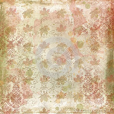 Distressed Autumn Background Paper - Vintage Leaf and Damask Pattern - Watercolor Textures - Scrapbook Paper Stock Photo